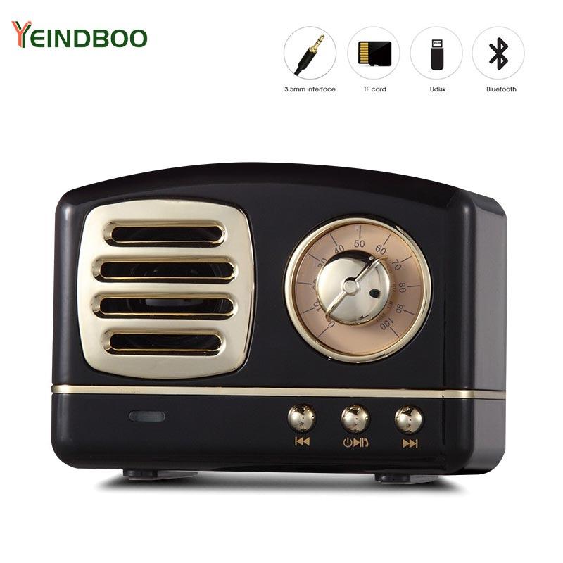 Portable Bluetooth Speaker Retro Mini Portable Wireless Bluetooth Speaker Radio USB/TF Card Music Player HIFI Subwoofer Speaker