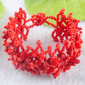 """Free Shipping Fashion Jewelry Wide Red coral Gems Beaded 4~8mm Chips Weave Bangle Bracelet 7""""TK1642"""