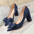 New Spring Women High Heels Shoes Elegant Sweet Bow Thick Heeled Shallow Point Flock Suede Single Shoes G1376-1A