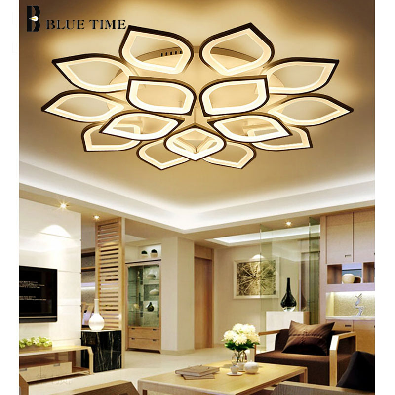 Modern Led Ceiling chandeli Lights For Living Room Bedroom Dining Room Fixtures White Finished Acrylic Ceiling Lamp Led Lutres noosion modern led ceiling lamp for bedroom room black and white color with crystal plafon techo iluminacion lustre de plafond