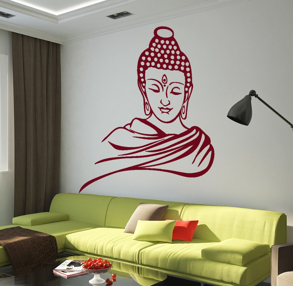 Religious Buddha head removable vinyl wall stickers Art Mural wall decals home decor living room study, Y-73 interior design