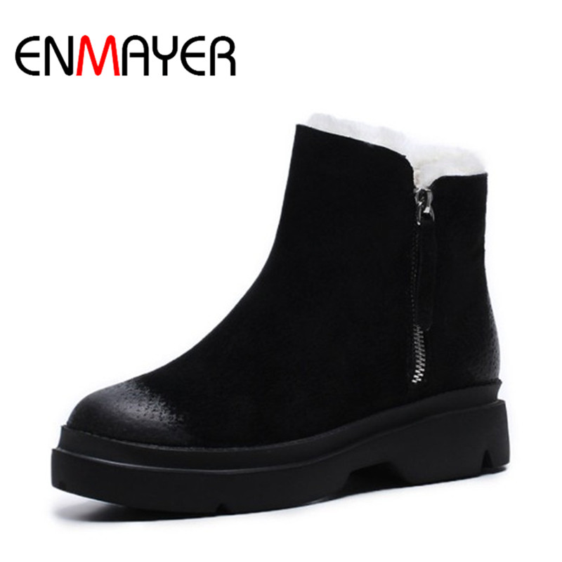 ENMAYER Winter Warm Boots Black Brown Color Zippers Square Heel Shoes Ankle Boots with Short Plush Leather Shoes for Ladies цены онлайн
