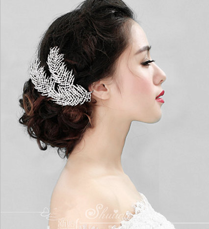 2016 Luxury Wedding Hair Jewelry Rhinestone Feather Hair Comb Bridal Bridesmaid Accessories Headpiece F1603