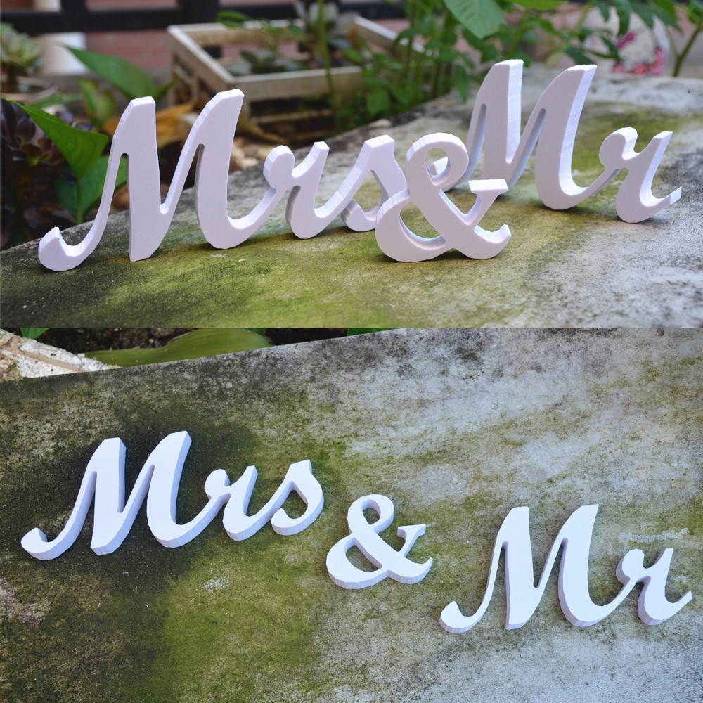 Vintage Rustic Wedding Decoration Table Letters Mr Mrs Party