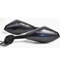 Evomosa Motorcycle Mirrors LED Turn Signals Lights Integrated Rearview Sport Mirror Fit For Honda Kawasaki BMW