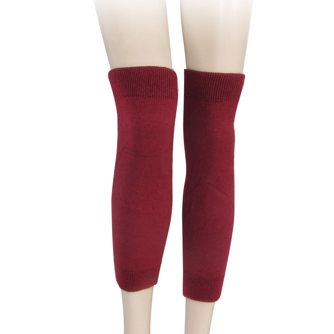 MOOL Pair Burgundy Knitted Elastic Knee Warmers for Women