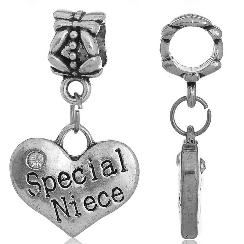 DoreenBeads European Charm Pendants Heart antique silver RhinestoneSpecial Niece About 27x16mm,Hole:About:5.5mm,10PCs ...