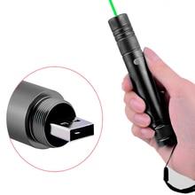 Wholesale USB charging 532nm Green Laser Portable 5mW Laser Pointer Pen Powerful light burning laser Adjustable Focus