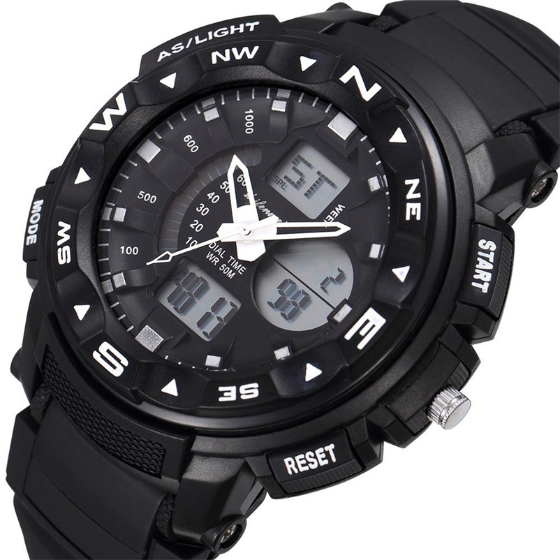 Men Sports Watches Dual Display Analog Digital LED Electronic Quartz Wristwatches 30M Waterproof Swimming Military Watch #4M29#F men sports watches dual display analog digital led electronic quartz wristwatches waterproof military watch reloj hombre skmei