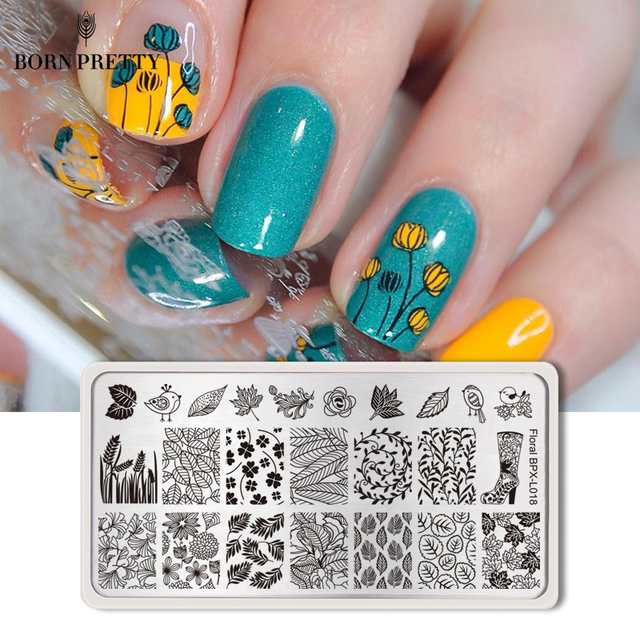 BORN PRETTY Flower Nail Stamping Plates Rectangle Floral Panda Geometry Pattern Manicure Nail Art Image Stamp Template