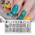 Nacido bonita Flor de uñas placas de estampado rectángulo Floral Panda patrón de geometría de uñas de manicura arte imagen sello plantilla