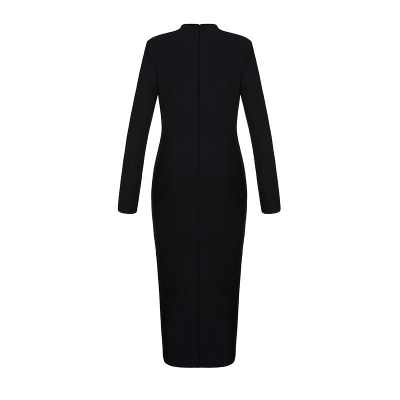 Lady Robes Moulante V Cou Robe Lons Fête Dress Black 2019 Manches Mi Femmes Scission Profonde mollet Bqueen De Élégante Nouvelles qUGSMzpV