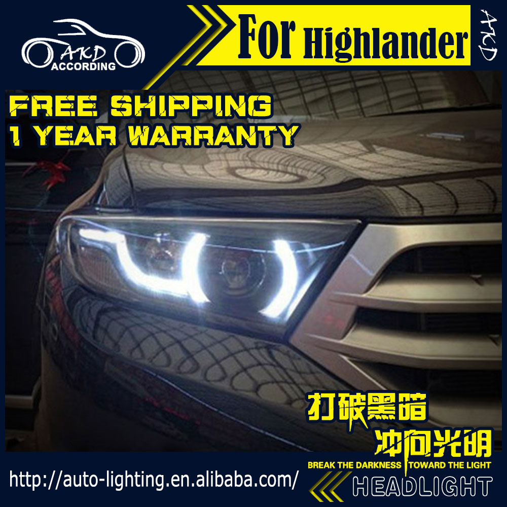 AKD Car Styling Head Lamp for Toyota Highlander LED Headlight 2012 2014 Highlander DRL H7 D2H