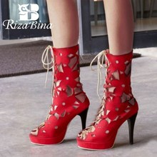 RIZABINA Size 32-44 Gladiator Women High Heel Summer Boots Platform Lace Up Hollow Out Spike Heeled Shoes