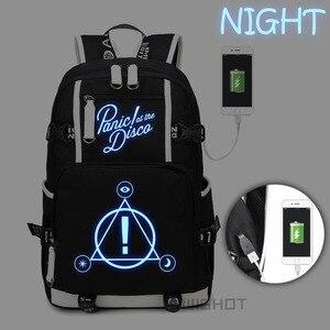 Image 1 - WISHOT Panic ที่ Disco กระเป๋าเป้สะพายหลัง multifunction USB ชาร์จกระเป๋าสำหรับวัยรุ่น Boys Girls School กระเป๋าส่องสว่าง