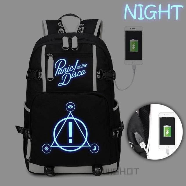 WISHOT Panic ที่ Disco กระเป๋าเป้สะพายหลัง multifunction USB ชาร์จกระเป๋าสำหรับวัยรุ่น Boys Girls School กระเป๋าส่องสว่าง