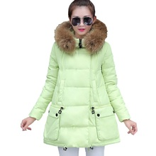 2016 Brand New Design Women Long Slim Solid Down Jackets Keep Warm Coat With Fur Hat Casual Casacos De Inverno