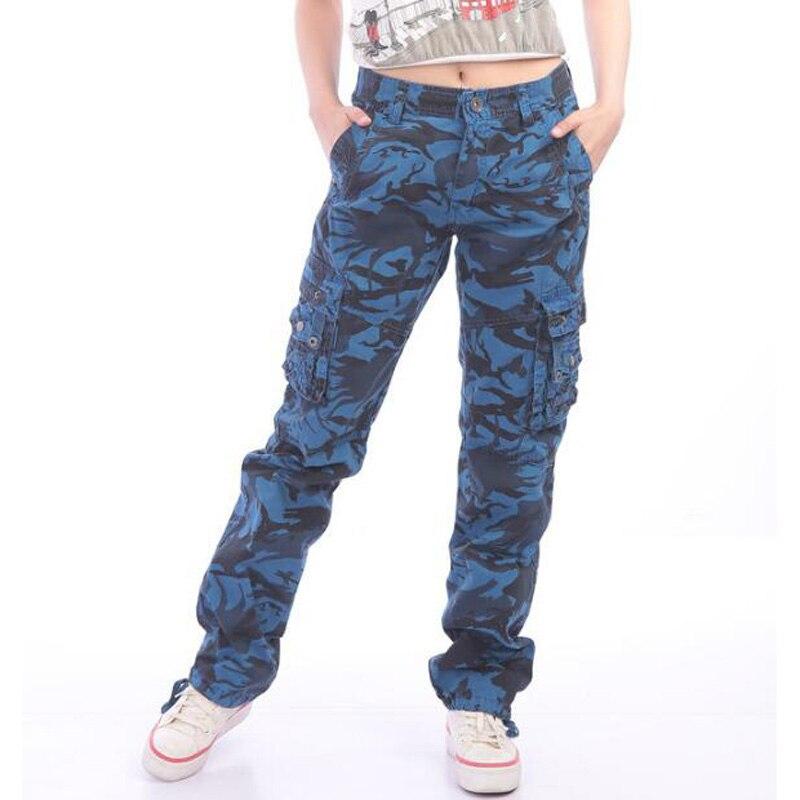 Compre Nuevos Pantalones De Camuflaje Para Mujer Pantalones Multibolsillos Pantalones De Mujer Pantalon Recto Militar Para Pantalones De Mujer A 28 54 Del Happy Snow Dhgate Com