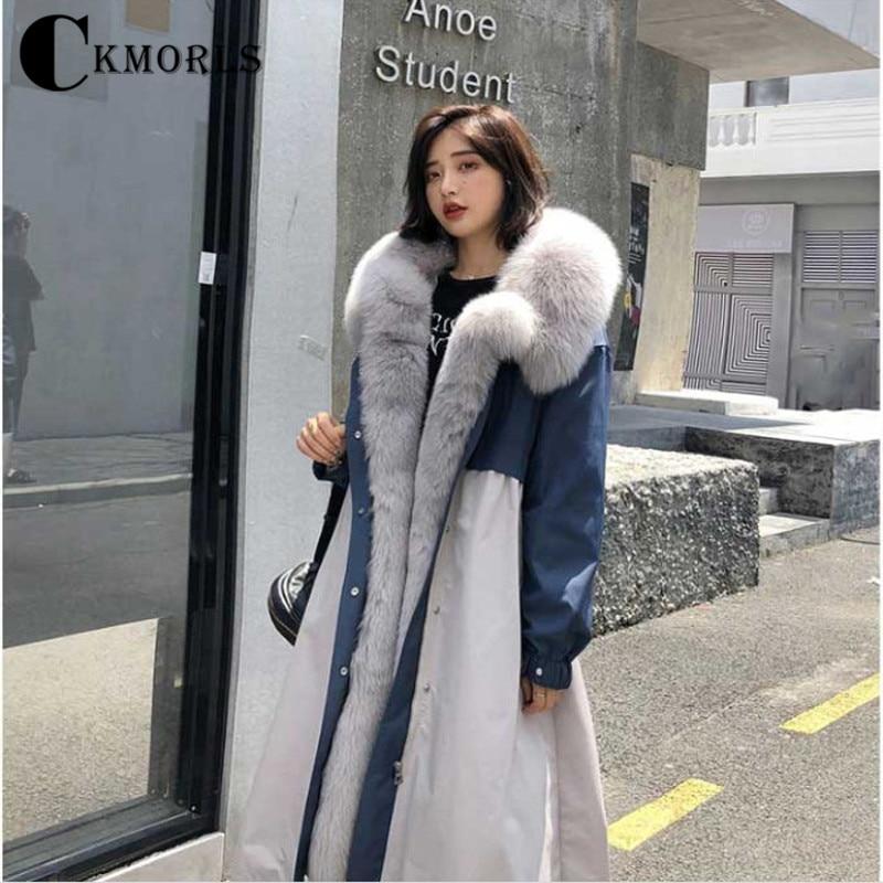 Collier Outwear Plus Épais Cm Luxury Femmes Avec New La Parka Ckmorls Mode Veste Fourrure D'hiver X Renard Manteau De Chaud Real longue Taille 115 7RU1nnqw