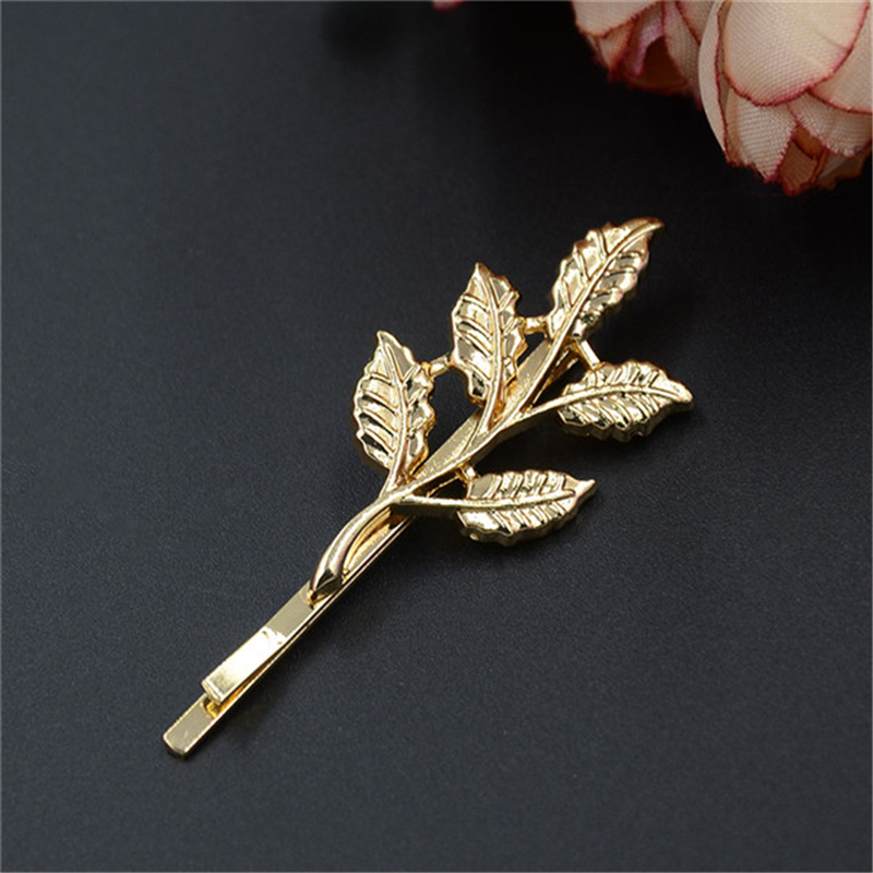 1 Pc New Arrival Fashion Women Trendy Charming Leaf Design Hairpin Hair Clip Hair Accessories 1 pc fashion women men the bones of hand hairpin novelty human skeleton fluorescence harajuku hair accessories halloween gift