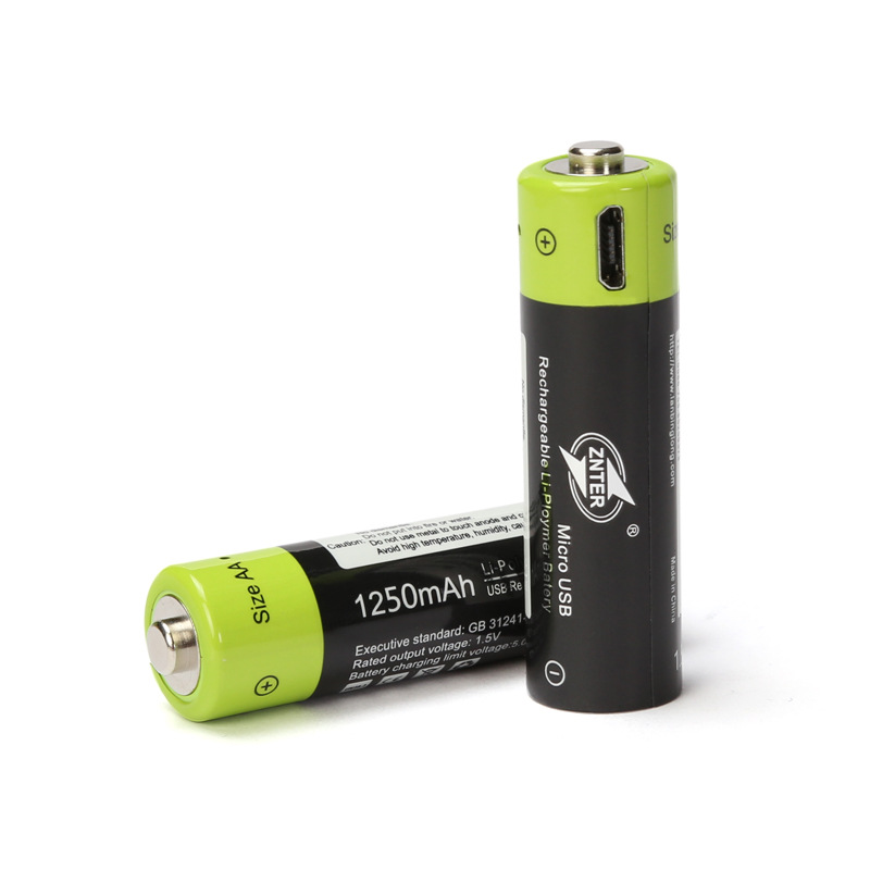2 4pcs ZNTER 1 5V AA 1250mAh li polymer li po rechargeable lithium li ion battery with USB cable pack in Rechargeable Batteries from Consumer Electronics