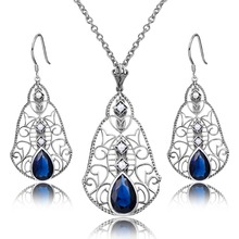 Classic Bohemia Women 925 Sterling Silver Sapphire Top Elegant Party Gift Costume Vintage Natural Pearl Jewelry Sets Wholesale