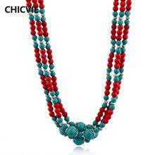 Chicvie длинные красные многослойные ожерелья ручной работы