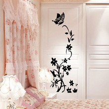 Butterfly and Flower Fridge Sticker Self-adhesive 3D Wall Sticker Wallpaper Sticker Bedroom Decoration Wall Decals 3d wall sticker self adhesive for bedroom