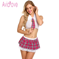 Avidlove Women Sexy Lingerie Set Schoolgirl Student Plaid Uniform Costumes Outfit Alter Bra Mini Skirts Play