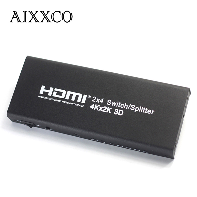 AIXXCO HDMI 2x4 2 entrée 4 sortie v1.4 4 K HDMI séparateur/commutateur HDMI Port pour PS3 PS4 pour Xbox 360 PC DV DVD HDTV 1080 P