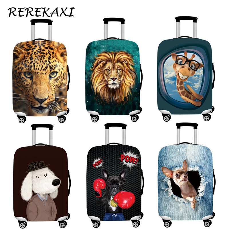 REREKAXI Suitcase Luggage Cover Animal Elastic Baggage Dust Protection Trunk Case Cover For 18-32Inch Trolley Travel Accessories