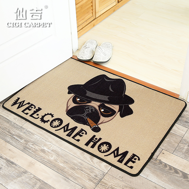 CIGI Grey Cartoon Fashion Anti Slip Floor Mat Cigar Dog Welcome Door Mat  Carpet Kitchen