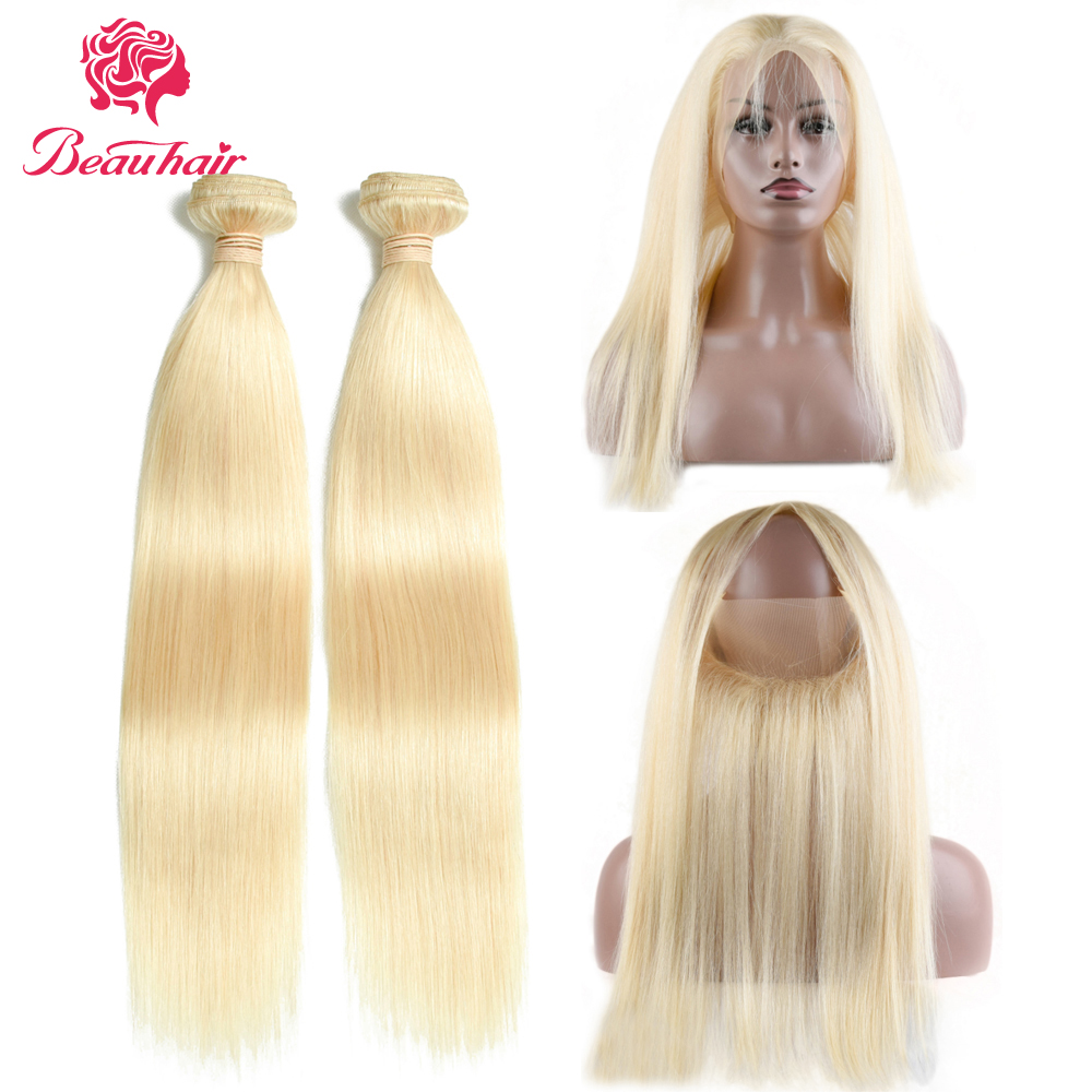 Beau Hair #613 Blonde Malaysian Straight Hair Weave Bundles 10-24 Inches Non Remy Human Hair Extension 360 Lace Frontal