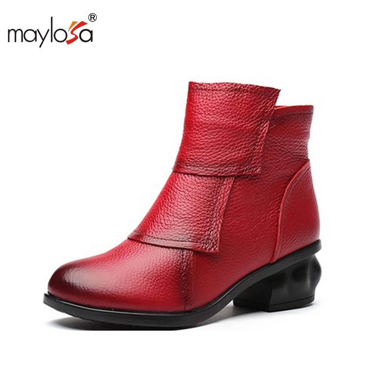 MAYLOSA Autumn Winter Women Fashion Boots Genuine Leather Fashion Shoes Rubber Sole Hands Sewing 3 Color