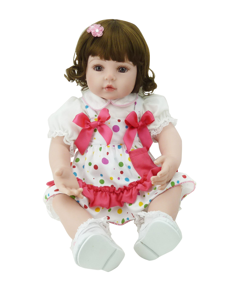 Pursue 24/60 cm Curly Brown Hair Vinyl Silicone Baby Alive Doll Reborn Toddler Princess Girls Doll Toys for Girl Birthday Gift adorable curly brown hair vinyl silicone reborn toddler princess girl baby alive doll toys with soft cloth body birthday gifts