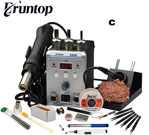 750W White 2 In 1 SMD Rework Soldering Station New Eruntop B8586 Hot Air Gun + Solder Iron 8586
