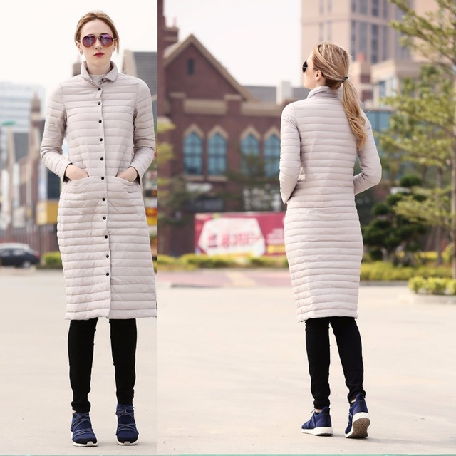 S-XXL Mujeres de Invierno ultraligero 80% de Pato Blanca Delgada Larga Outwear Abajo Chaqueta JL-1608 wide-waisted Abrigo prendas de Vestir Exteriores Femenina
