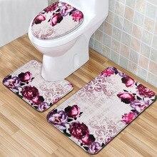 T фиолетовый Крокус 3 шт коврик для ванной комплект Нескользящие коврики для ванной комнаты 3D водопоглощающий ковер для домашнего декора 45*75 см Коврик для туалета Коврик для двери