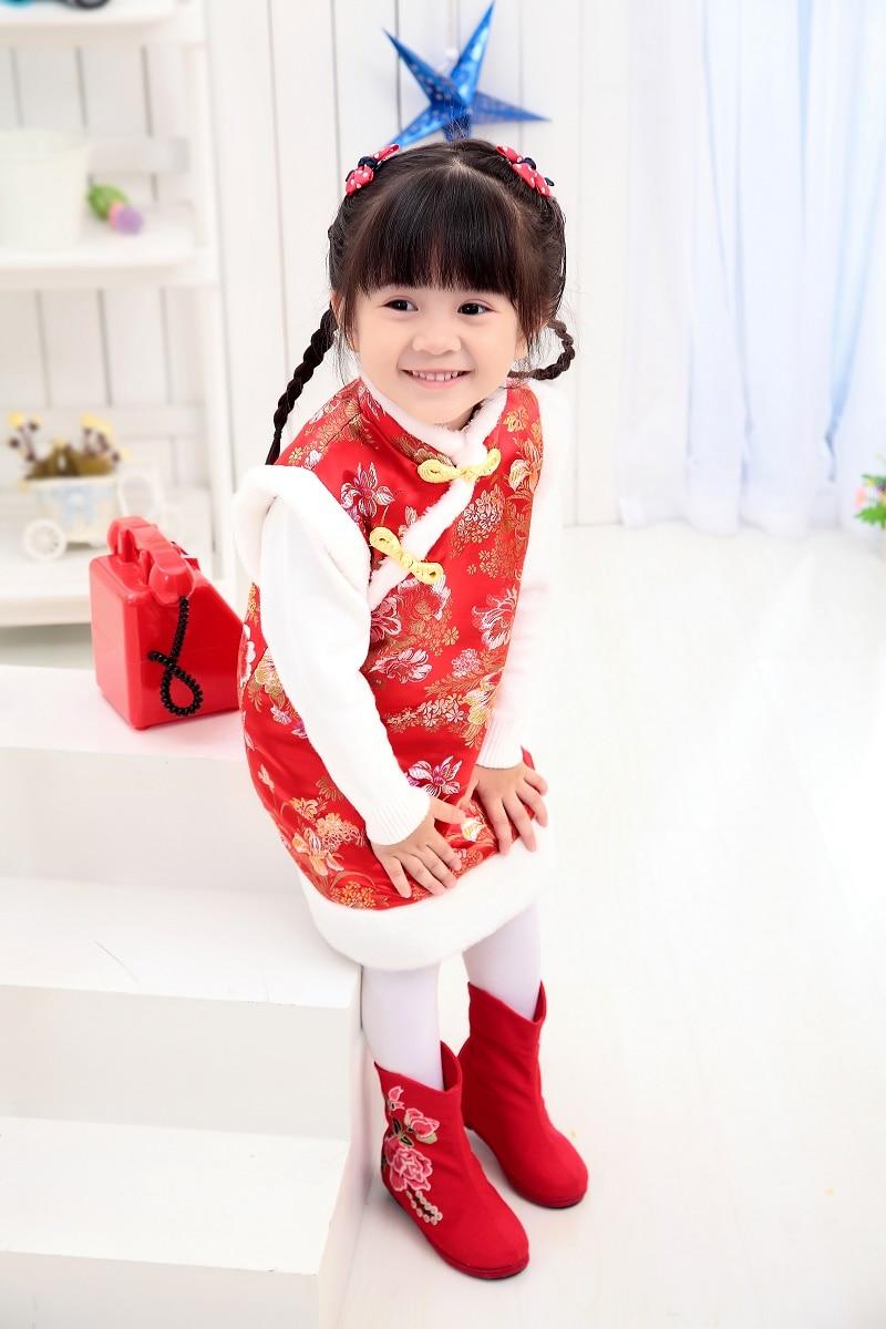 Зимние пальто для маленьких девочек, праздничный жилет, пуховик для девочек, платья Qipao, детская верхняя одежда в китайском стиле, плотная одежда, жилет