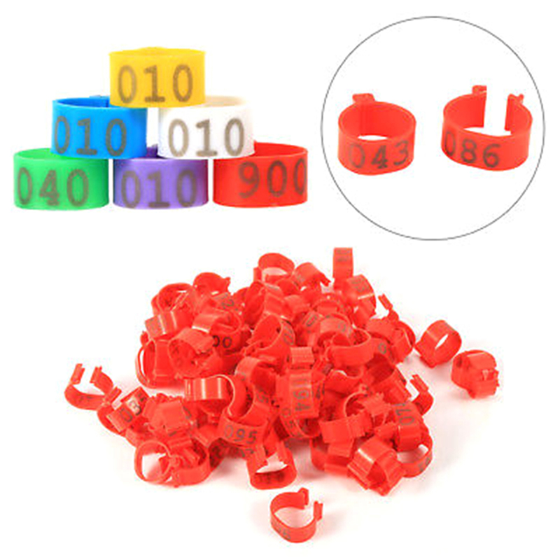100 Pcs 1.6cm Chicken Poultry Rings Chicken Leg Bands Pigeon Geese Quail Bird Ring Carry Tools Feeding Logo 5 Colors