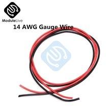 1 комплект 14 AWG Калибр провода гибкие многожильные медные кабели с силиконовой оплеткой для RC черный 1 М+ Красный 1 м = 2 м
