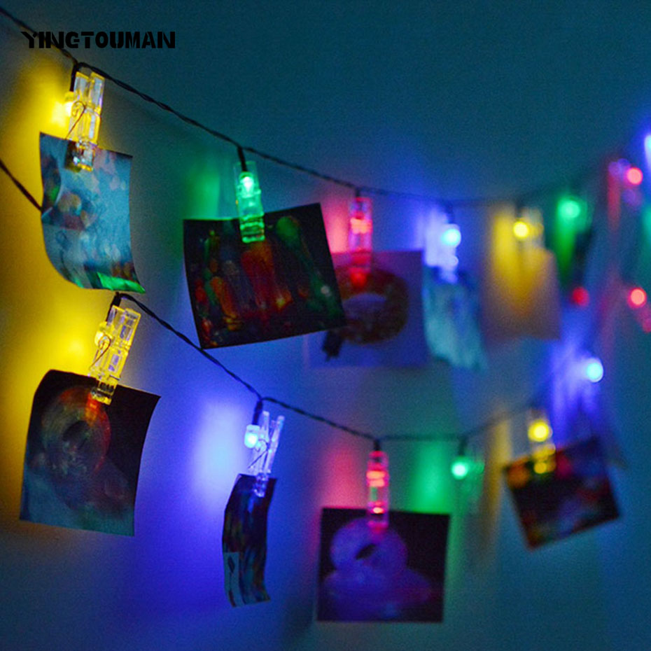 YINGTOUMAN 2018 Photo Clip Solar Powered LED Lamp Christmas Lights Fairy String Light For Outdoor Garden Decorations 4.8m 20led