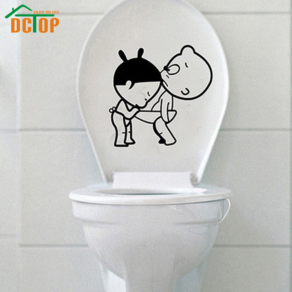 Bathroom wall art stickers - Dctop Bathroom Decoration Funny Wall Art Stickers Creative Design Removable Vinyl Cute Kids Toilet Wall Decals