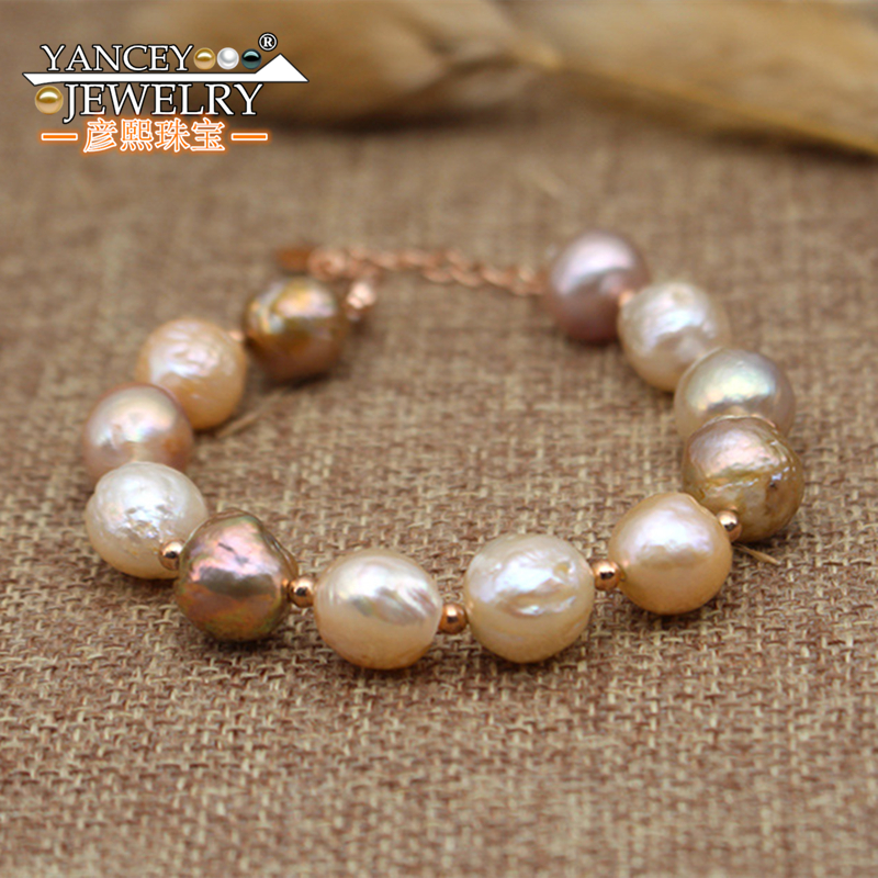 NEW Natural Baroque shaped bright light freshwater fine pearl bracelets for women, with S925 Bohemia simple fashion bracelet