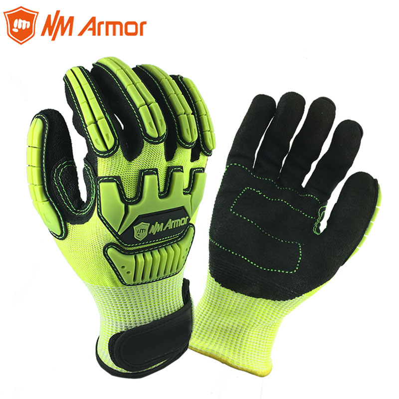 Anti Vibration Mechanic Cut Resistant Safety Work Glove With Hi-Viz Yellow Color Multi-Task Function Fashion Gloves