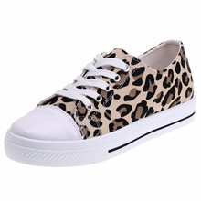 2019 women's shoes spring and summer wild leopard canvas shoes