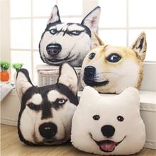 New Hot 3D 38cm*35cm Samoyed Husky Dog Plush Toys Dolls Stuffed Animal Pillow Sofa Car Decorative Creative Birthday Gift
