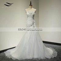 2014 Chapel Train Sweerheart Neckline Strapless Crystal Beaded Mermaid Wedding Dress Chiffon Vestidos De Casamento SLW