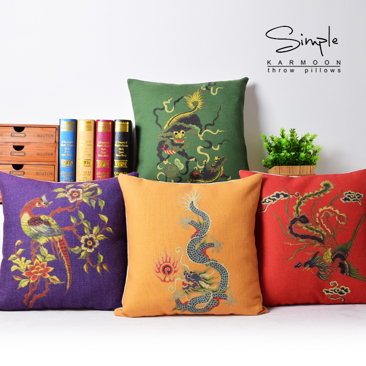Oriental Chinese Style Dragon Fenix Lucky Bird Cushion Cover Linen Decorative Purple Red Green Yellow Throw Pillow Case Gift 18