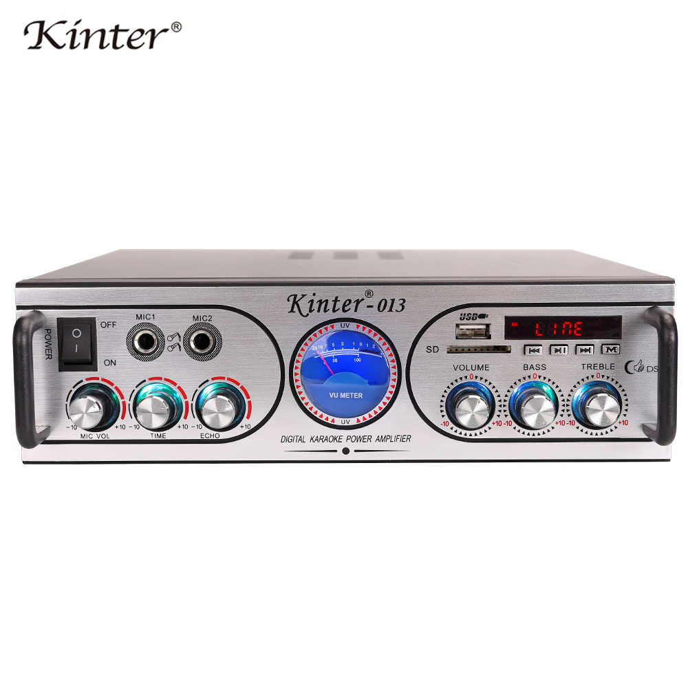 Kinter-013 hifi stereo sound amplifier audio 2.0CH supply power 220V offer USB SD TWO Micphone input with LED display VU meter цена и фото